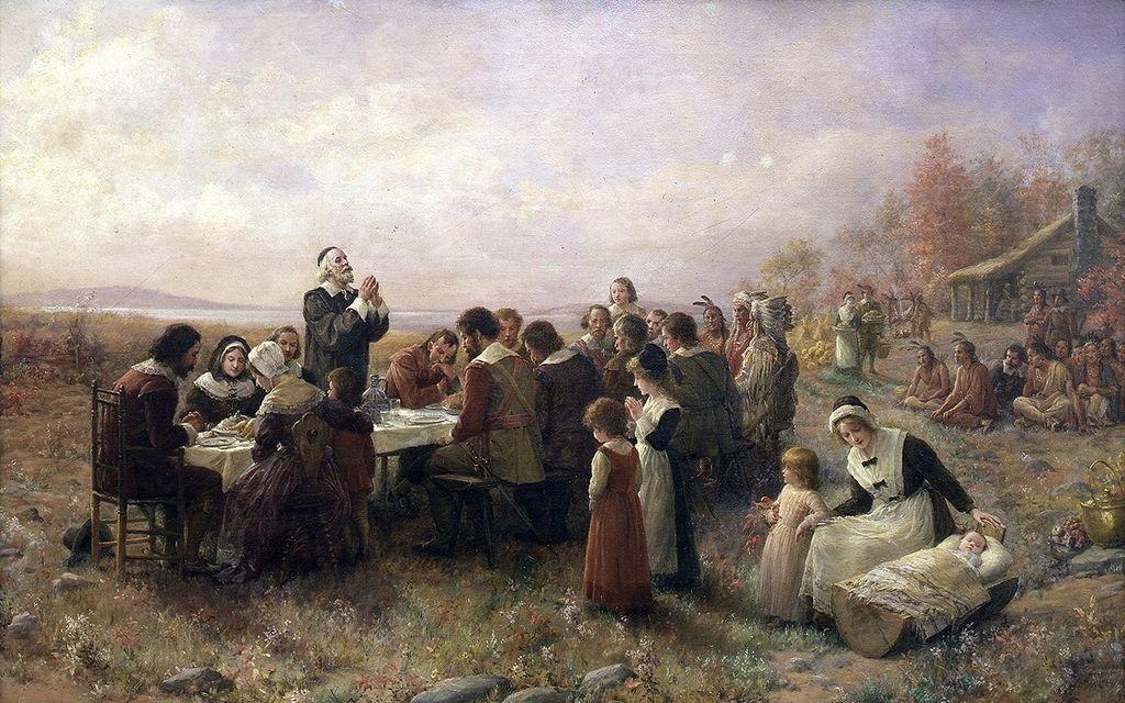 Prvi Dan zahvalnosti u Plimutu, slika Dženi A. Brounskomba (1914)